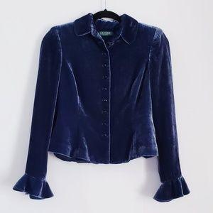 L R L Blue Velvet Victorian Style Blazer Size 2p